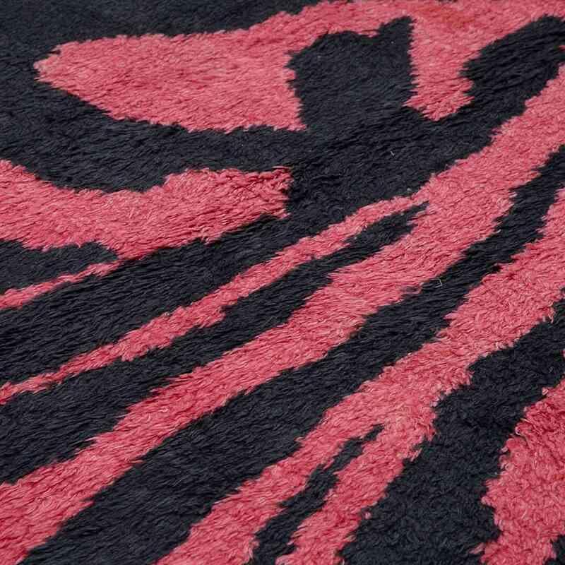 """Black, Pink New Turkish Tulu Area Rug - 7' 9"""" x 11' 3"""" (93 in. x 135 in.) - K0048052"""