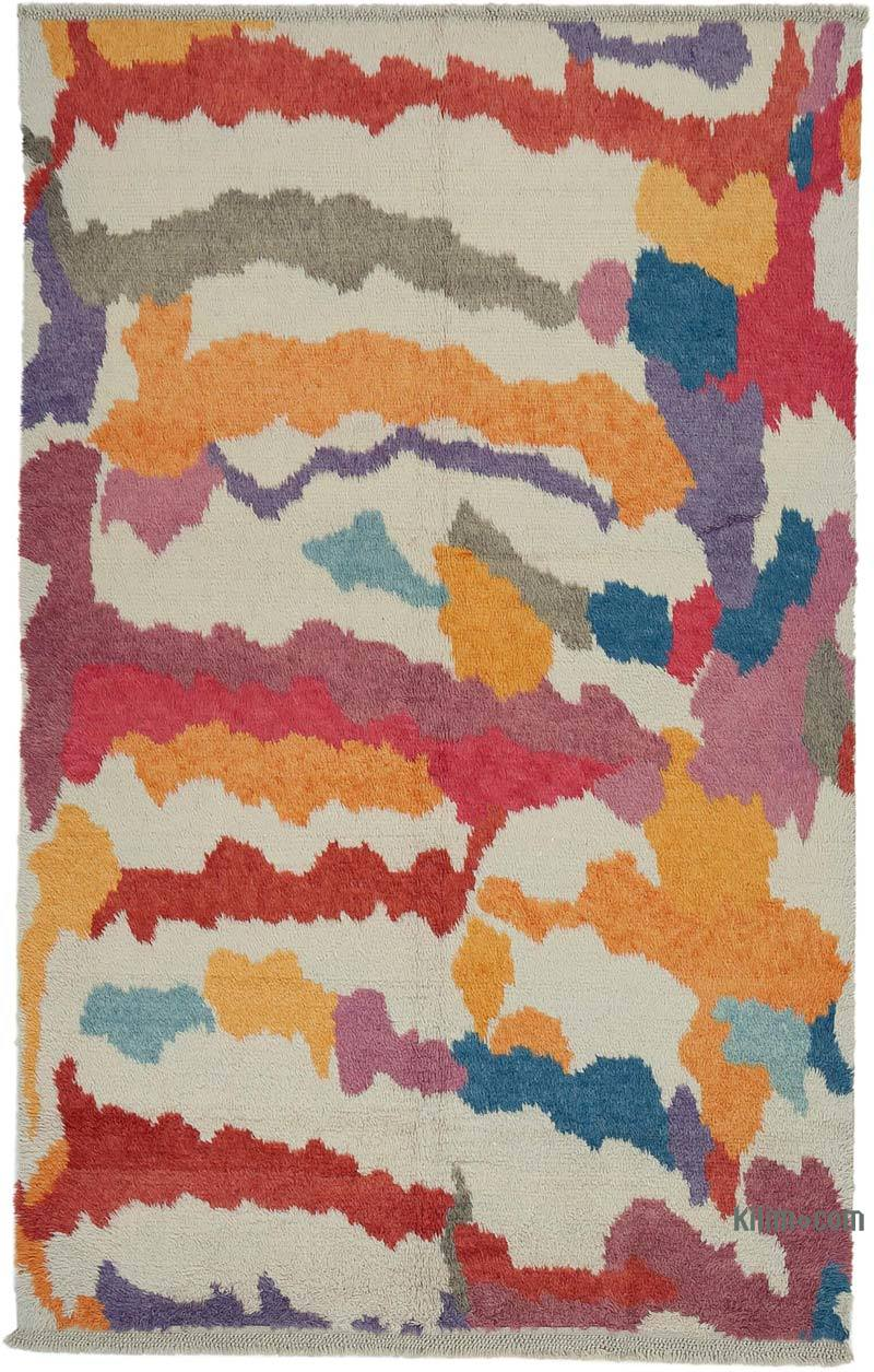 """Multicolor Moroccan Style Hand-Knotted Tulu Rug - 6' 8"""" x 10' 7"""" (80 in. x 127 in.) - K0048063"""