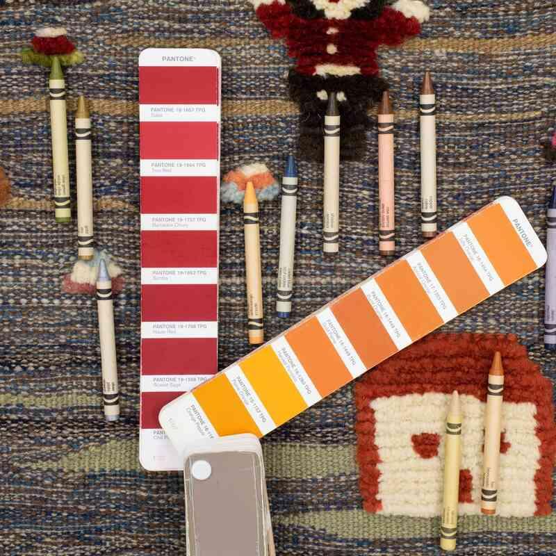 Çok Renkli Yeni Kök Boya El Dokuma Kilim - 105 cm x 130 cm - K0048507