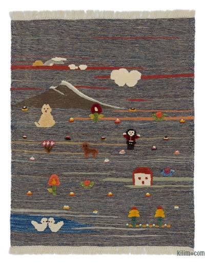 Çok Renkli Yeni Kök Boya El Dokuma Kilim - 105 cm x 130 cm
