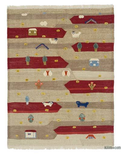 "New Handwoven Turkish Kilim Rug - 4' 2"" x 5' 4"" (50 in. x 64 in.)"