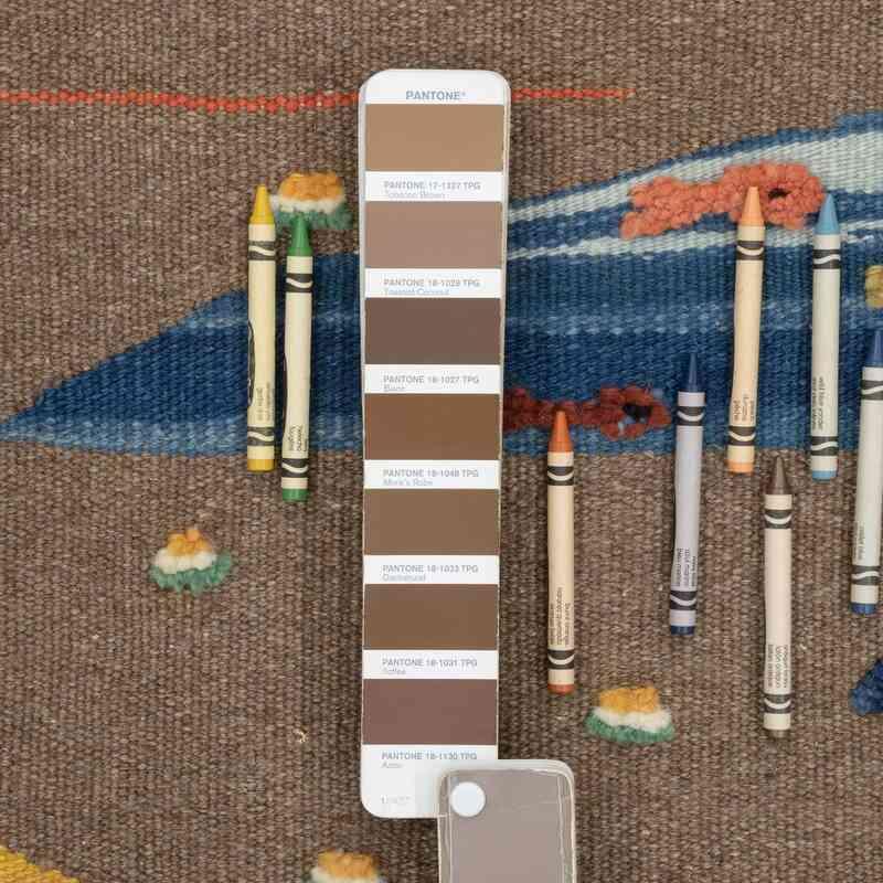 Çok Renkli Yeni Kök Boya El Dokuma Kilim - 108 cm x 141 cm - K0048512