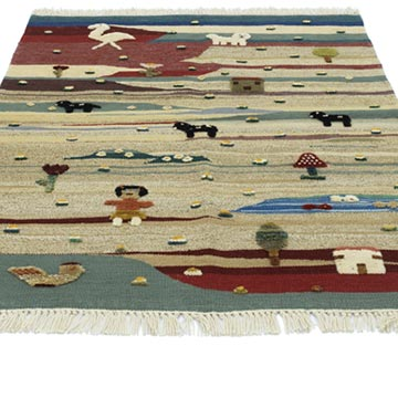 Çok Renkli Yeni Kök Boya El Dokuma Kilim - 109 cm x 127 cm - K0048513