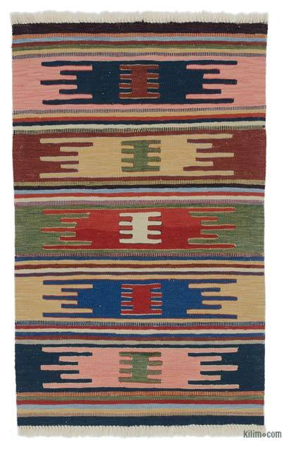 "New Handwoven Turkish Kilim Rug - 2' 9"" x 4' 4"" (33 in. x 52 in.)"