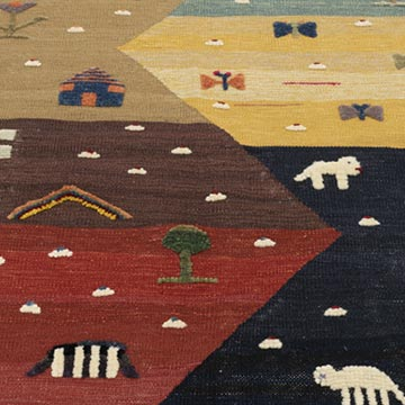 Çok Renkli Yeni Kök Boya El Dokuma Kilim - 113 cm x 164 cm - K0048517