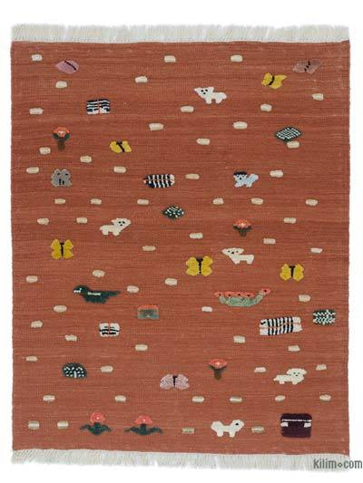 """New Handwoven Turkish Kilim Rug - 3' 8"""" x 4' 5"""" (44 in. x 53 in.)"""