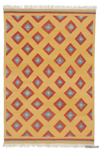 """New Handwoven Turkish Kilim Rug - 4'3"""" x 6'2"""" (51 in. x 74 in.)"""