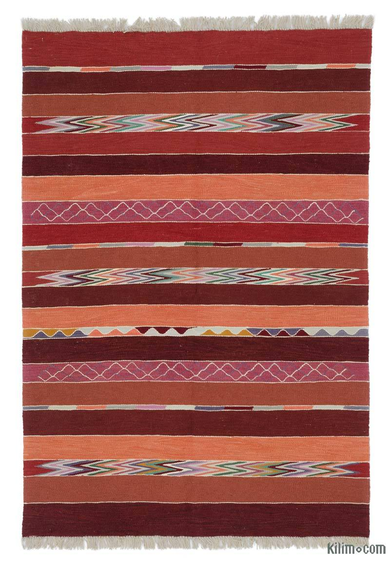 """Red New Handwoven Turkish Kilim Rug - 4' 3"""" x 6' 2"""" (51 in. x 74 in.) - K0048520"""