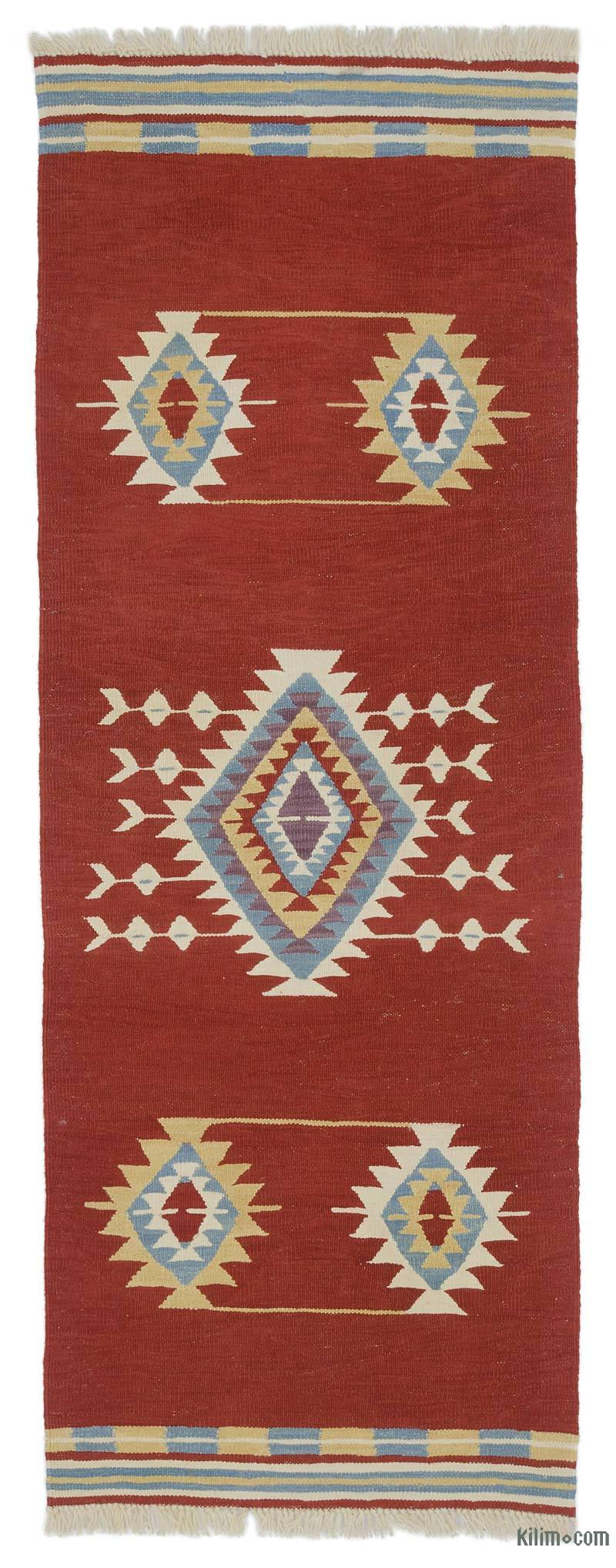 Red New Handwoven Turkish Kilim Runner - 2' 6# x 6' 8# (30 in. x 80 in.) - K0048528