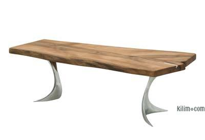 Walnut Slab Coffee Table with Cast Aluminium Legs