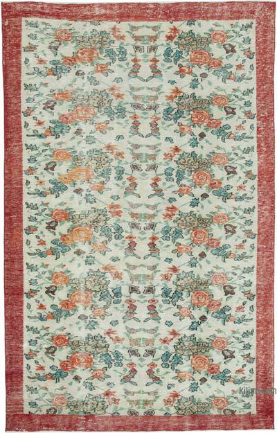 """Vintage Turkish Hand-knotted Area Rug - 6' 2"""" x 9' 8"""" (74 in. x 116 in.)"""