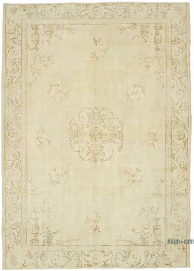 """Vintage Turkish Hand-knotted Area Rug - 7' 3"""" x 10' 1"""" (87 in. x 121 in.)"""