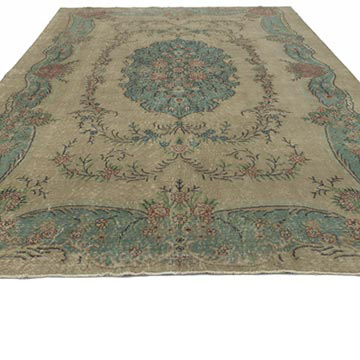"""Vintage Turkish Hand-Knotted Rug - 7' 3"""" x 10' 5"""" (87 in. x 125 in.) - K0048964"""