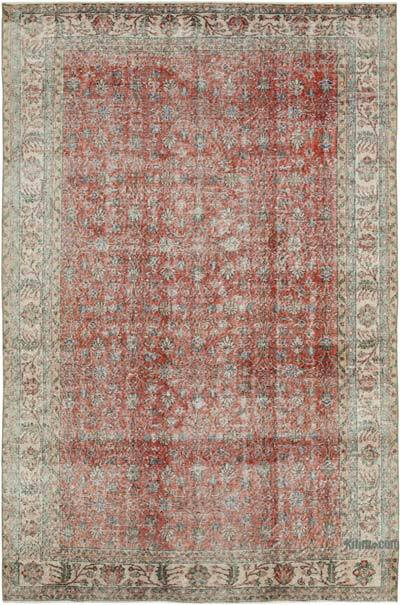 """Vintage Turkish Hand-knotted Area Rug - 6' 5"""" x 9' 10"""" (77 in. x 118 in.)"""
