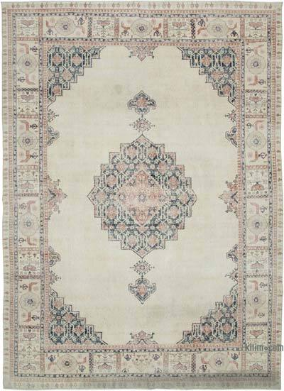 """Vintage Turkish Hand-knotted Area Rug - 8' 11"""" x 12' 5"""" (107 in. x 149 in.)"""