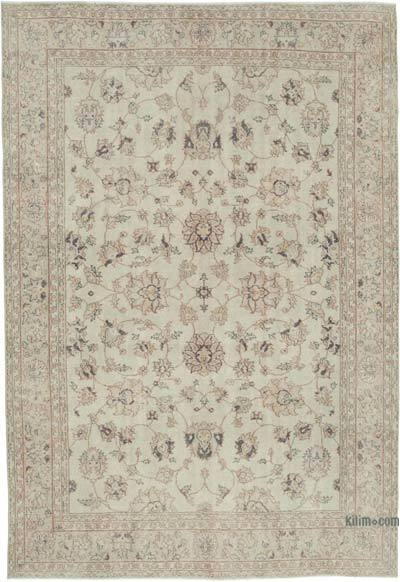 "Vintage Turkish Hand-knotted Area Rug - 7' 1"" x 10'  (85 in. x 120 in.)"