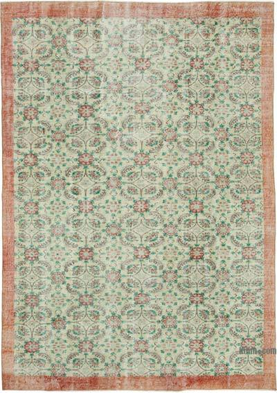 "Vintage Turkish Hand-knotted Area Rug - 7' 2"" x 10'  (86 in. x 120 in.)"