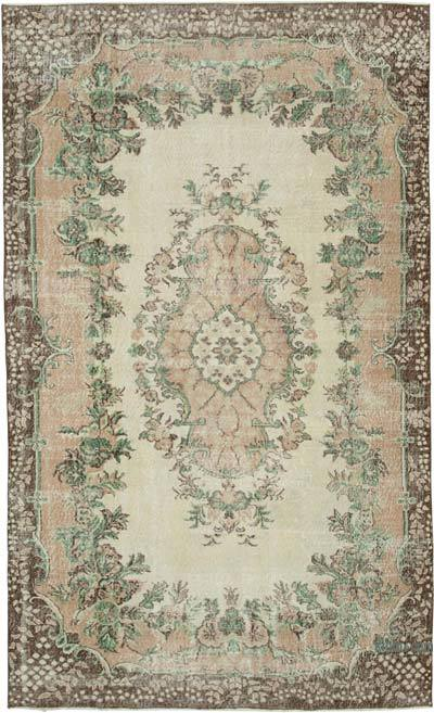 "Vintage Turkish Hand-knotted Area Rug - 6' 7"" x 10' 9"" (79 in. x 129 in.)"