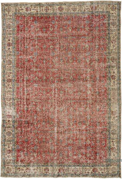 """Vintage Turkish Hand-knotted Area Rug - 7' 1"""" x 10' 4"""" (85 in. x 124 in.)"""