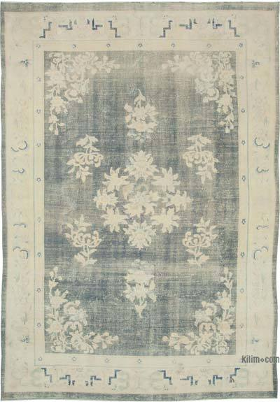 "Vintage Turkish Hand-knotted Area Rug - 7' 9"" x 11' 1"" (93 in. x 133 in.)"