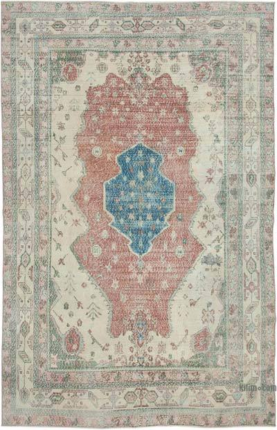 """Vintage Turkish Hand-knotted Area Rug - 6' 11"""" x 10' 8"""" (83 in. x 128 in.)"""