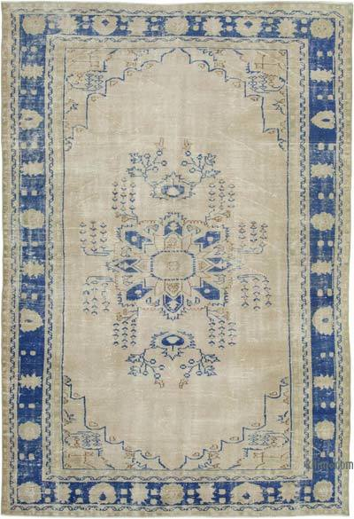 "Vintage Turkish Hand-knotted Area Rug - 6' 11"" x 10' 2"" (83 in. x 122 in.)"