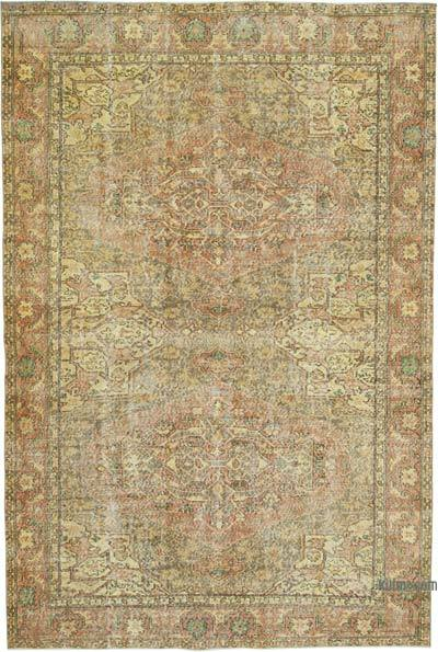 """Yellow Over-dyed Vintage Hand-knotted Turkish Rug - 6' 9"""" x 10' 2"""" (81 in. x 122 in.)"""