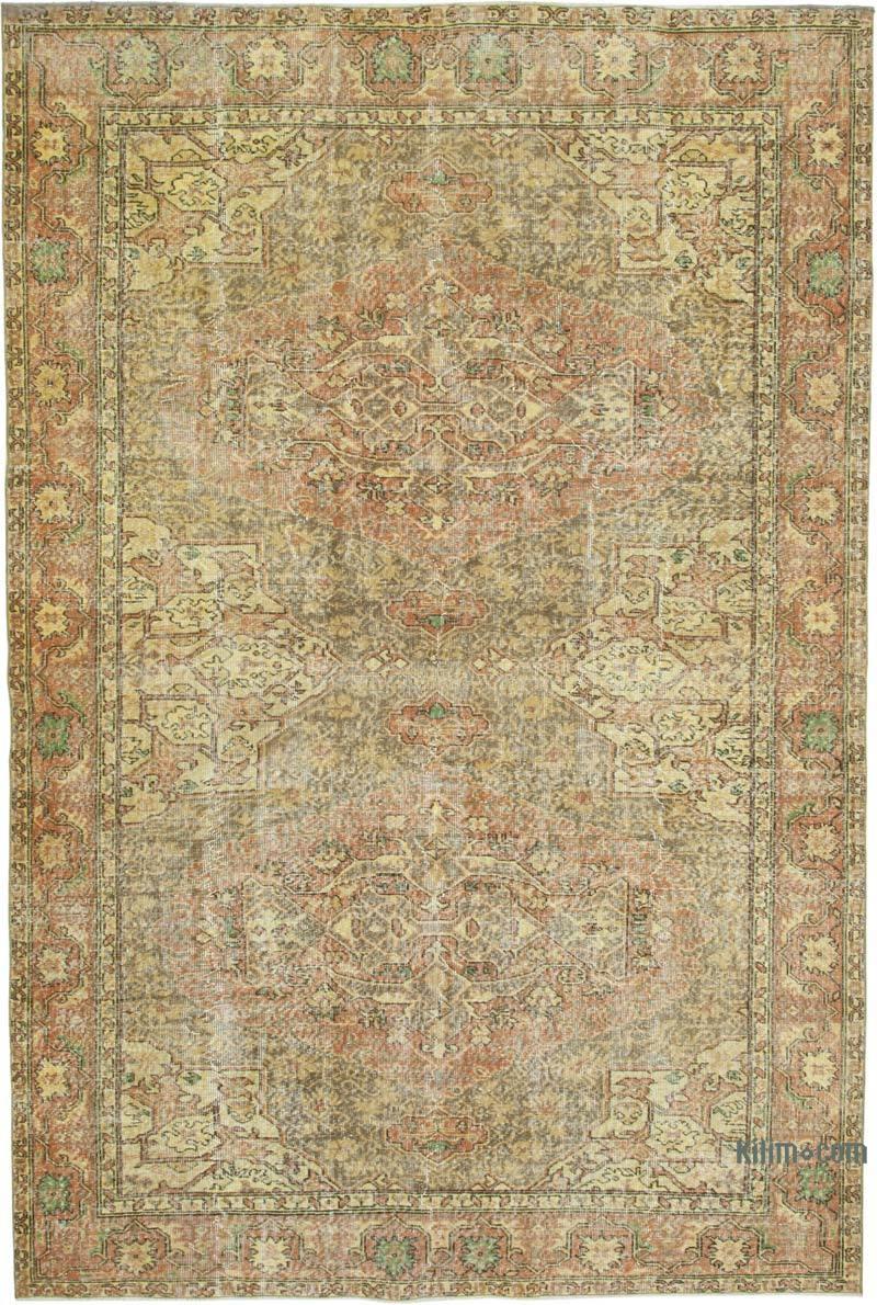 Sarı Boyalı El Dokuma Anadolu Halısı - 206 cm x 310 cm - K0049255
