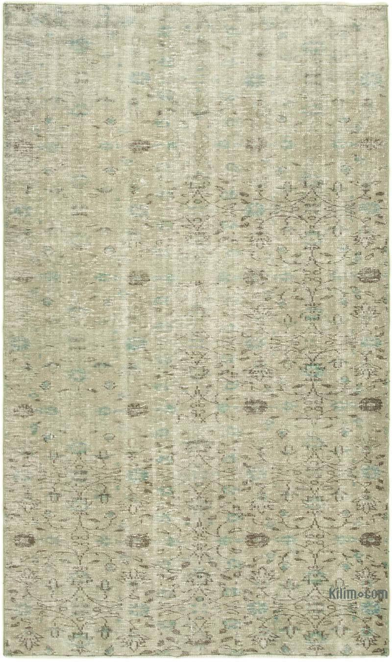 Grey Over-dyed Vintage Hand-knotted Turkish Rug - 5' 1# x 8' 5# (61 in. x 101 in.) - K0049262
