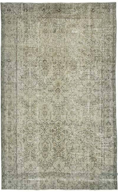 """Grey Over-dyed Vintage Hand-knotted Turkish Rug - 5' 11"""" x 9' 5"""" (71 in. x 113 in.)"""