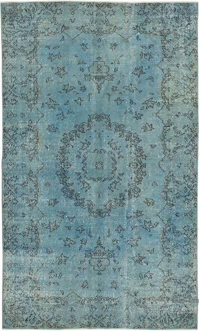 """Blue Over-dyed Vintage Hand-knotted Turkish Rug - 5' 1"""" x 8' 4"""" (61 in. x 100 in.)"""