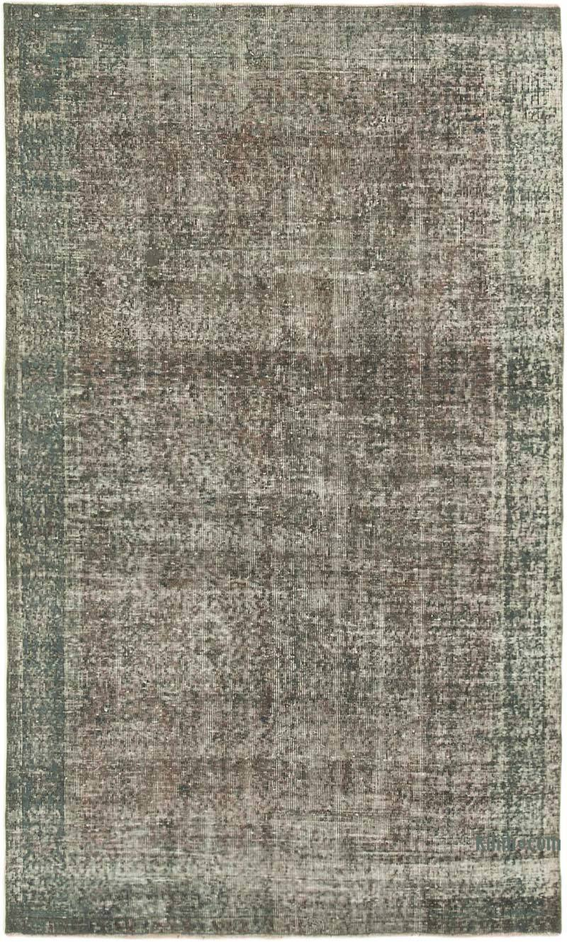 """Grey Over-dyed Vintage Hand-Knotted Turkish Rug - 5' 2"""" x 8' 5"""" (62 in. x 101 in.) - K0049292"""