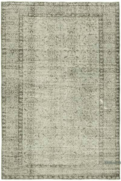 """Grey Over-dyed Vintage Hand-Knotted Turkish Rug - 5' 3"""" x 7' 9"""" (63 in. x 93 in.)"""