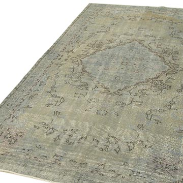 """Grey Over-dyed Vintage Hand-Knotted Turkish Rug - 5' 1"""" x 8' 8"""" (61 in. x 104 in.) - K0049303"""