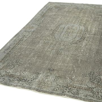 """Grey Over-dyed Vintage Hand-Knotted Turkish Rug - 5' 9"""" x 8' 10"""" (69 in. x 106 in.) - K0049312"""
