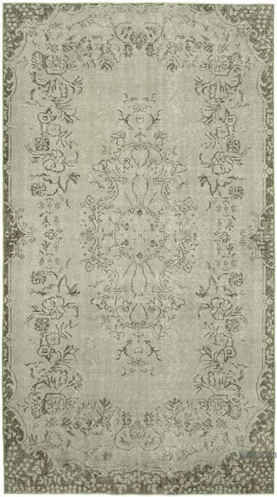 """Grey Over-dyed Vintage Hand-knotted Turkish Rug - 5' 1"""" x 9' 2"""" (61 in. x 110 in.)"""