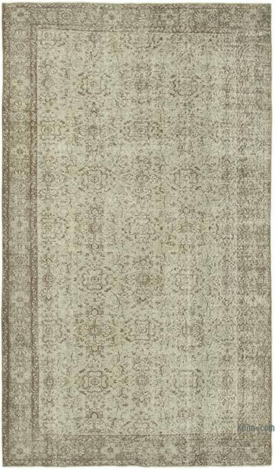 """Grey Over-dyed Vintage Hand-knotted Turkish Rug - 5' 4"""" x 9' 2"""" (64 in. x 110 in.)"""