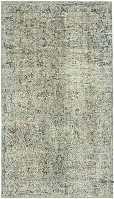 """Grey Over-dyed Vintage Hand-Knotted Turkish Rug - 4' 11"""" x 8' 6"""" (59 in. x 102 in.)"""