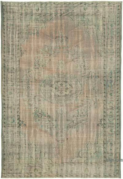 """Blue Over-dyed Vintage Hand-knotted Turkish Rug - 5' 10"""" x 8' 6"""" (70 in. x 102 in.)"""