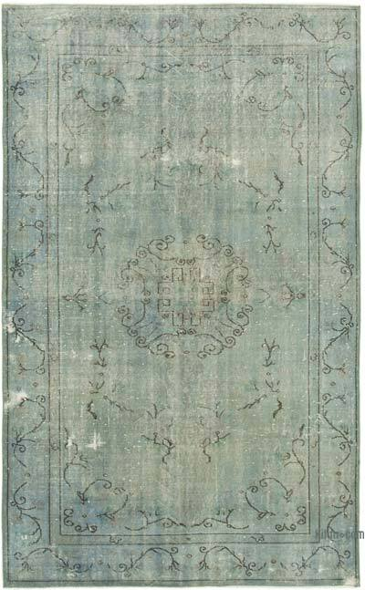 """Blue Over-dyed Vintage Hand-knotted Turkish Rug - 5' 9"""" x 9' 3"""" (69 in. x 111 in.)"""