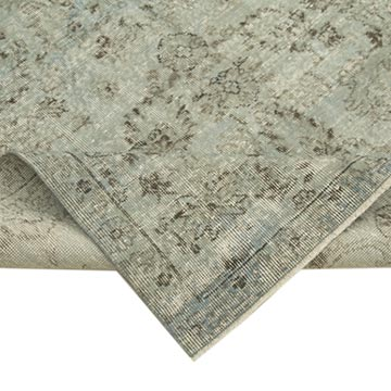 """Grey Over-dyed Vintage Hand-Knotted Turkish Rug - 5' 7"""" x 9' 9"""" (67 in. x 117 in.) - K0049340"""
