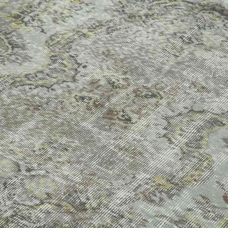 Gri Boyalı El Dokuma Vintage Halı - 169 cm x 263 cm - K0049346