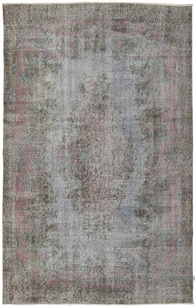"""Grey Over-dyed Vintage Hand-knotted Turkish Rug - 5' 7"""" x 8' 10"""" (67 in. x 106 in.)"""