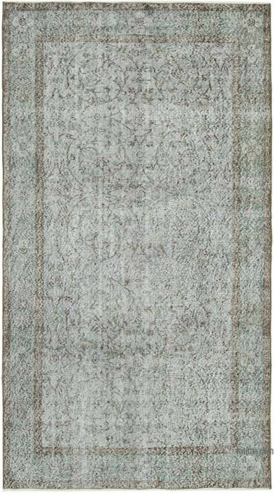 """Grey Over-dyed Vintage Hand-Knotted Turkish Rug - 4' 8"""" x 8' 4"""" (56 in. x 100 in.)"""