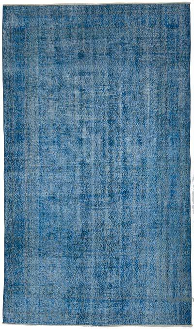 "Blue Over-dyed Vintage Hand-knotted Turkish Rug - 5' 1"" x 8' 9"" (61 in. x 105 in.)"