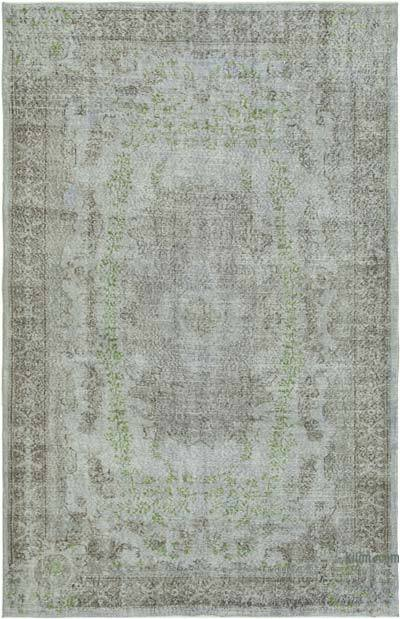"""Grey Over-dyed Vintage Hand-Knotted Turkish Rug - 5' 7"""" x 8' 7"""" (67 in. x 103 in.)"""