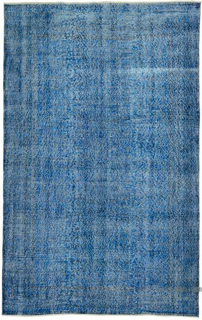 """Blue Over-dyed Vintage Hand-knotted Turkish Rug - 5' 6"""" x 8' 9"""" (66 in. x 105 in.)"""
