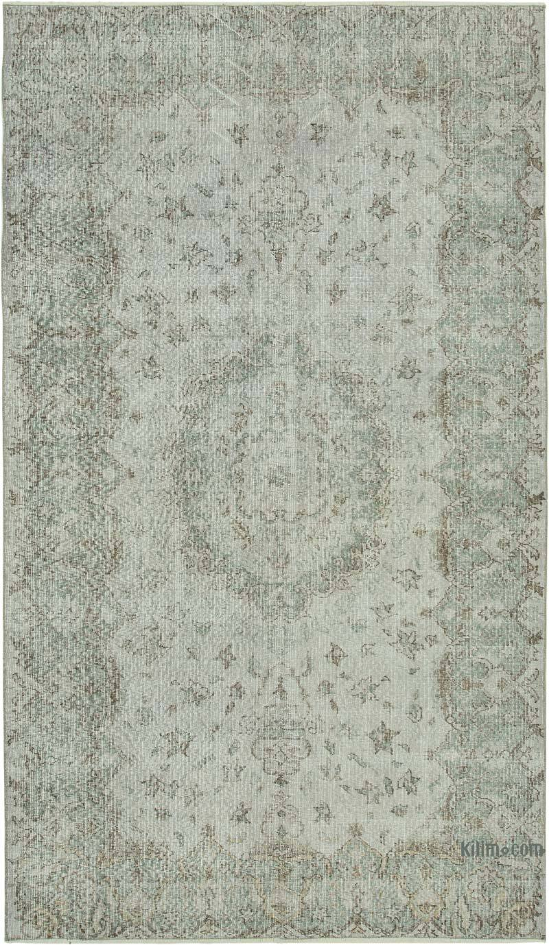 """Grey Over-dyed Vintage Hand-Knotted Turkish Rug - 5' 6"""" x 9' 3"""" (66 in. x 111 in.) - K0049405"""