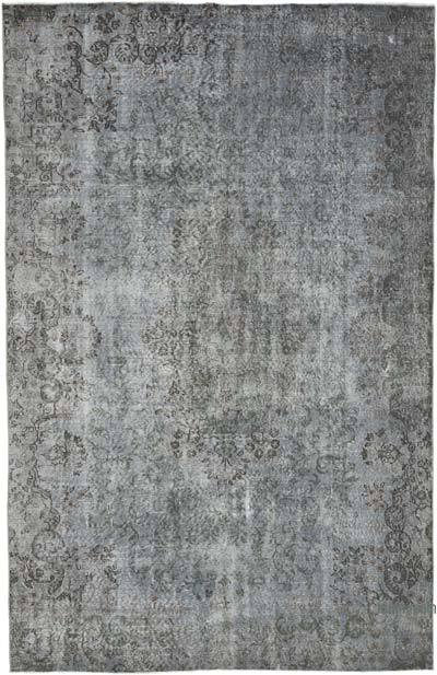 """Grey Over-dyed Vintage Hand-knotted Turkish Rug - 5' 11"""" x 9' 1"""" (71 in. x 109 in.)"""