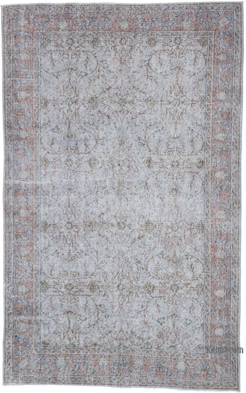 Gri Boyalı El Dokuma Anadolu Halısı - 164 cm x 265 cm - K0049413